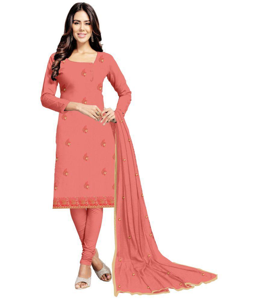 Udaan Peach Satin Dress Material