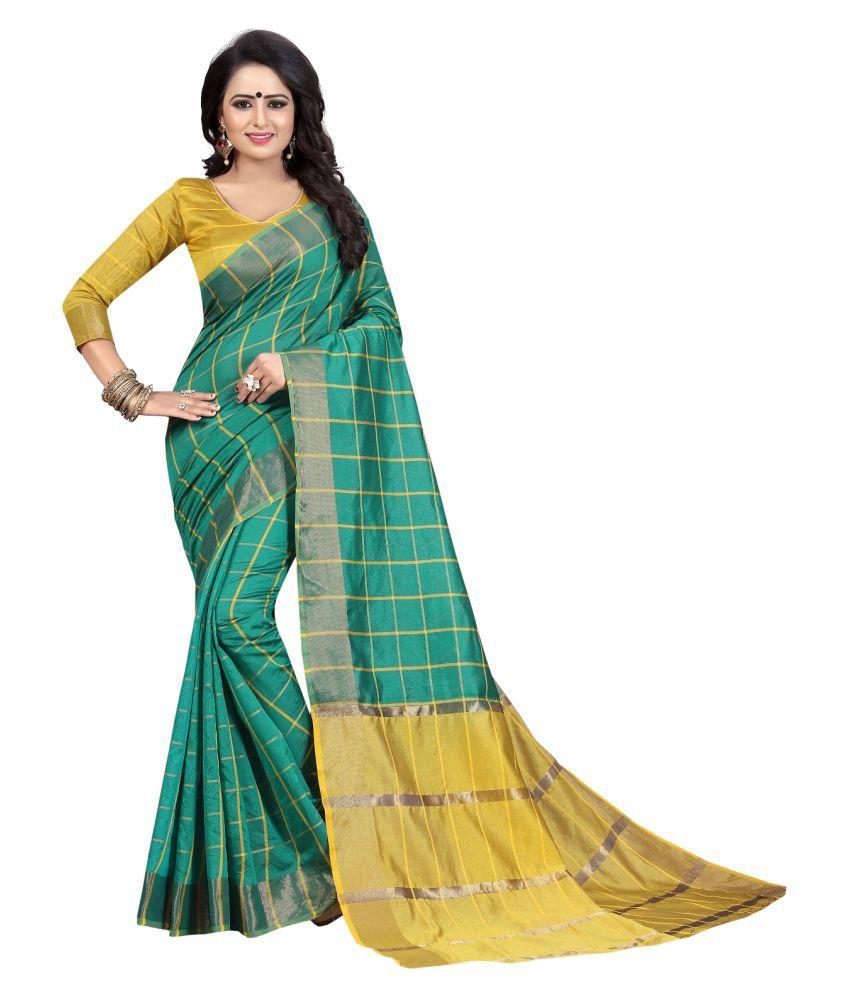 HashTag Fashion Green Cotton Silk Saree