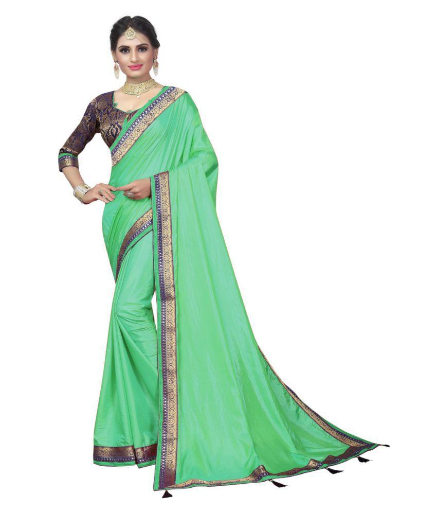 white world Green Silk Saree