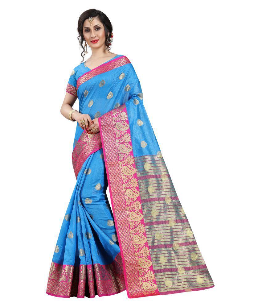 INDIATELLME Pink and Blue Silk Saree