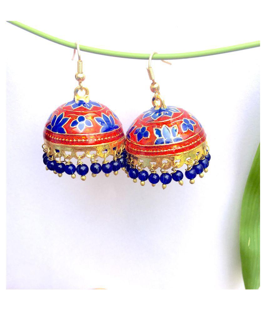 Meenakari Gold Plating Blue Beads Jhumka Earrings