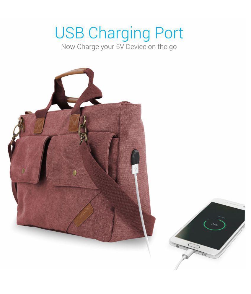 Portronics POR-869 Unisex Elements U Laptop Bag Maroon Canvas Office Bag