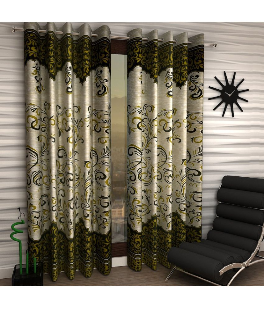 Home Sizzler Set of 2 Window Semi-Transparent Eyelet Polyester Curtains Green
