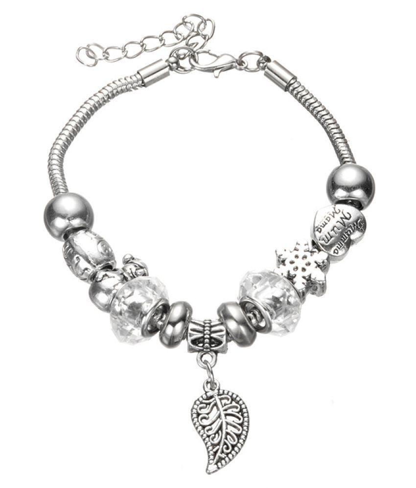 Kamalife Fashion Womens Girls Colored Glaze Pandoras DIY String Beads Bracelet White Alloy