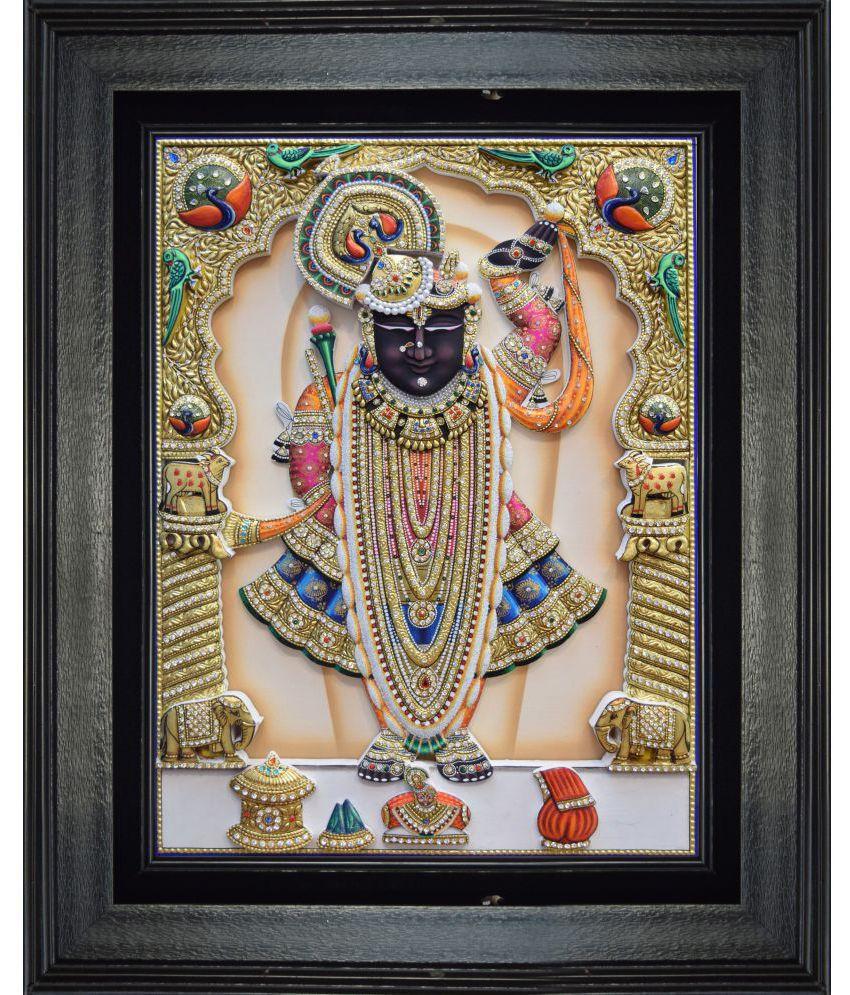 Mukund Arts Shreenathji Sharad Purnima(Bangla) hand wood painting with gold leaf Wood Painting With Frame