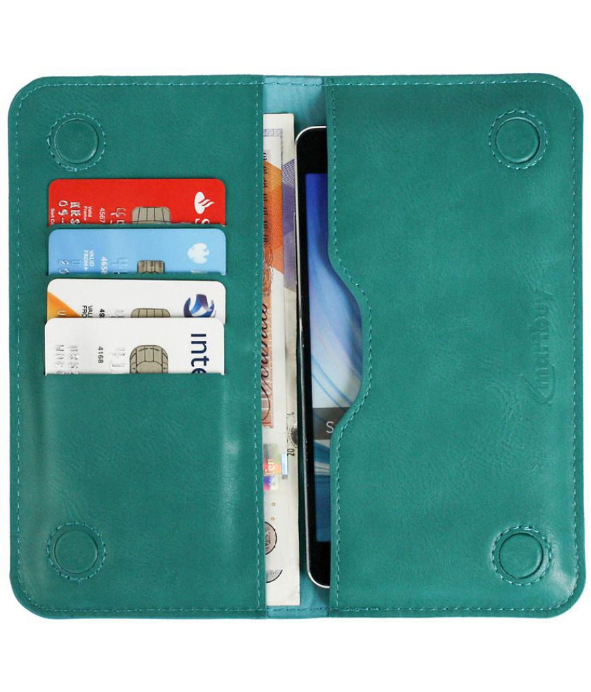Intex Aqua Young Flip Cover by Emartbuy - Blue ( Magnetic Slim Wallet Size LM2 ) Turquoise Plain