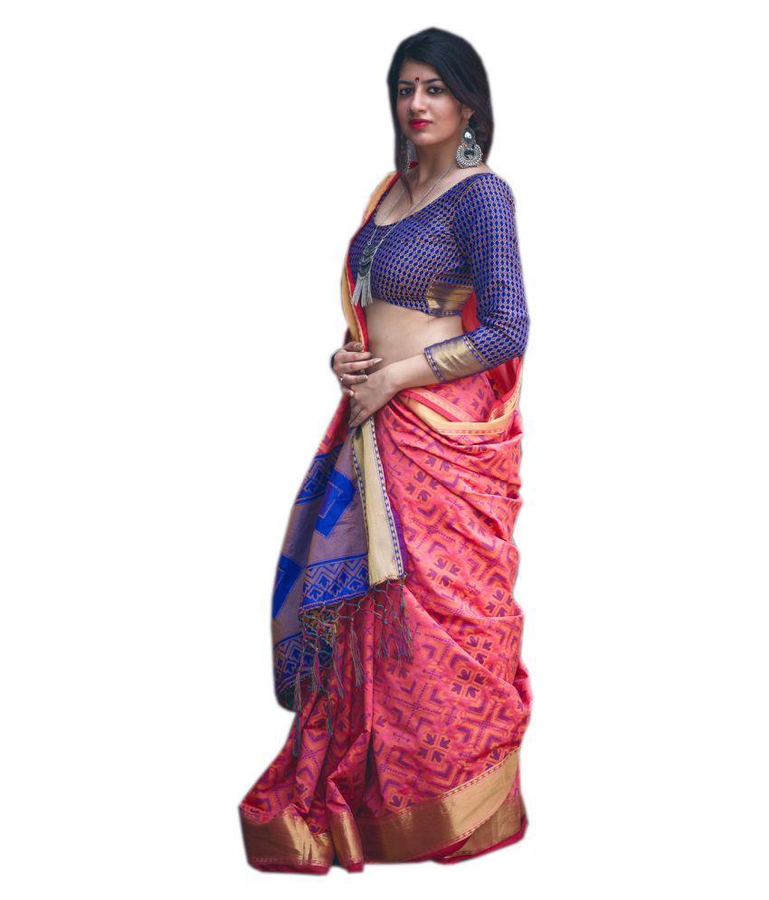 KAD Creations Pink Silk Saree