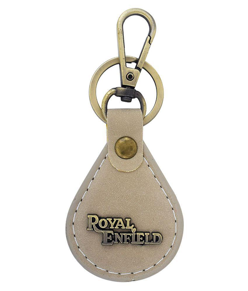 Dzine Trendz Beige coloured faux Leather, brass, Drop shape, Royal Enfield key ring keychain Stylish Bike accessory Men