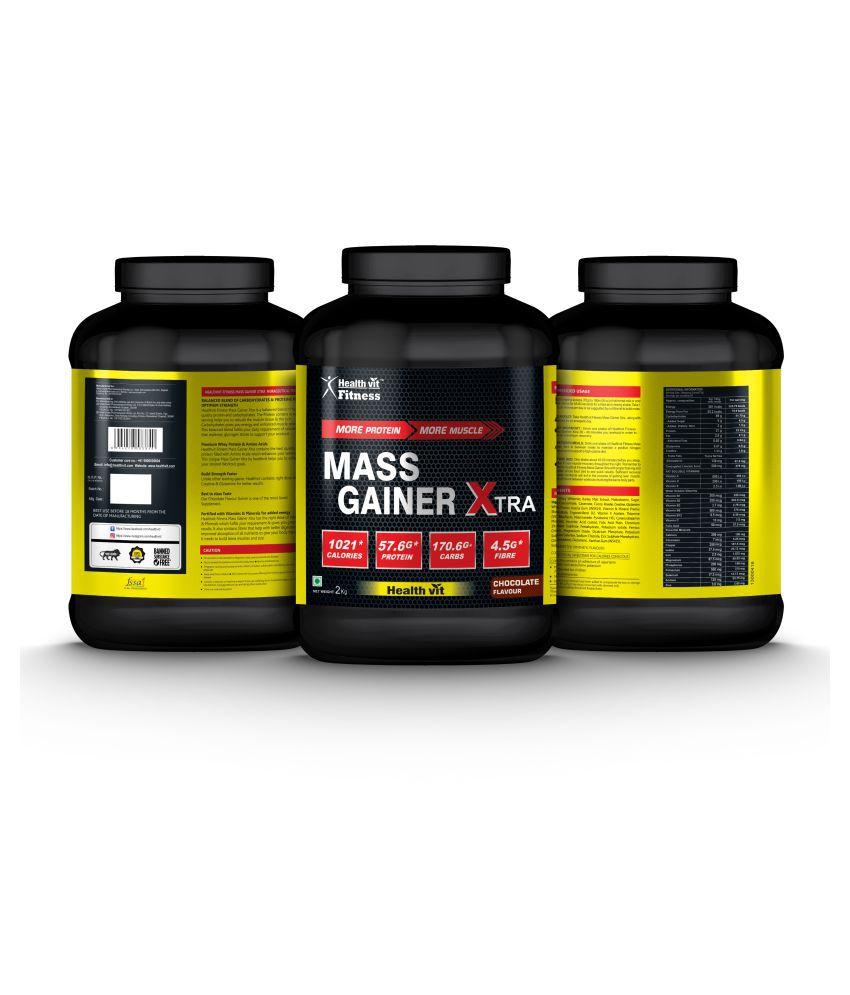 HealthVit Mass Gainer Xtra Chocolate Flavour 2kg 1 kg Mass Gainer Powder