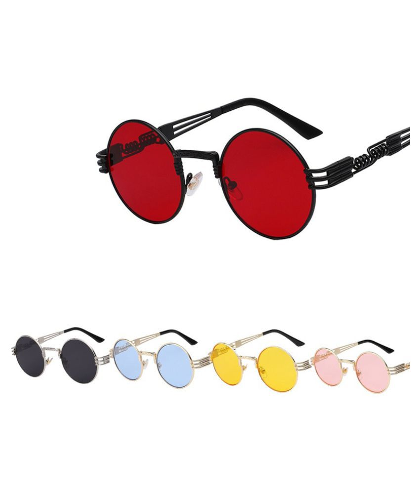 Swagger Fashion Luxury Metal Sunglasses Men Round Sunglass Steampunk Coating Glasses Vintage Retro Lentes Oculos of Male Sun UV400