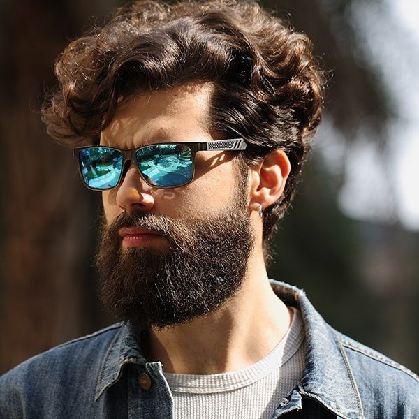Swagger Men Polarized Sunglasses Aluminum Magnesium Sun Glasses Driving Glasses Rectangle Shades for Men Oculos Masculino Male