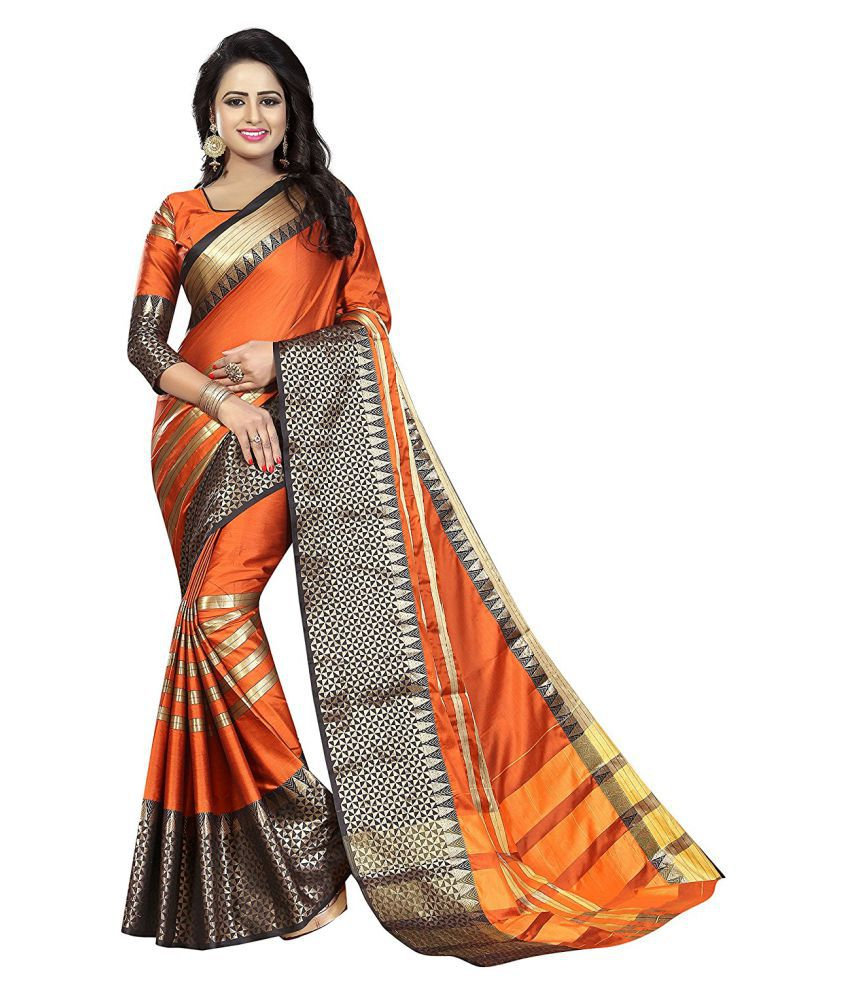 Femiro Fab Orange Jacquard Saree