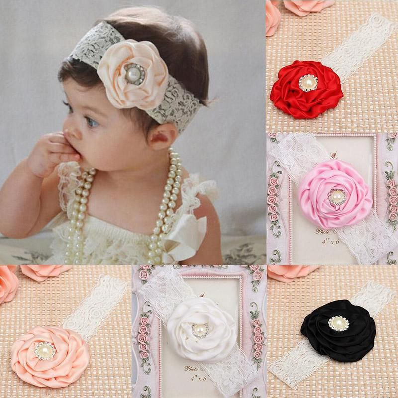 Cute Kids Baby Girl Toddler Cute Lace Pearl Flower Headband Hair Band Headwear