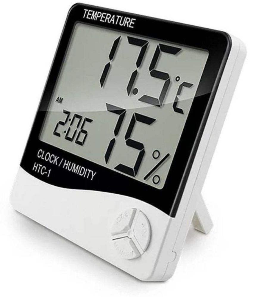 Ibs Digital Humidity Hygrometer Thermometer (White) Alarm Clock - Pack of 1