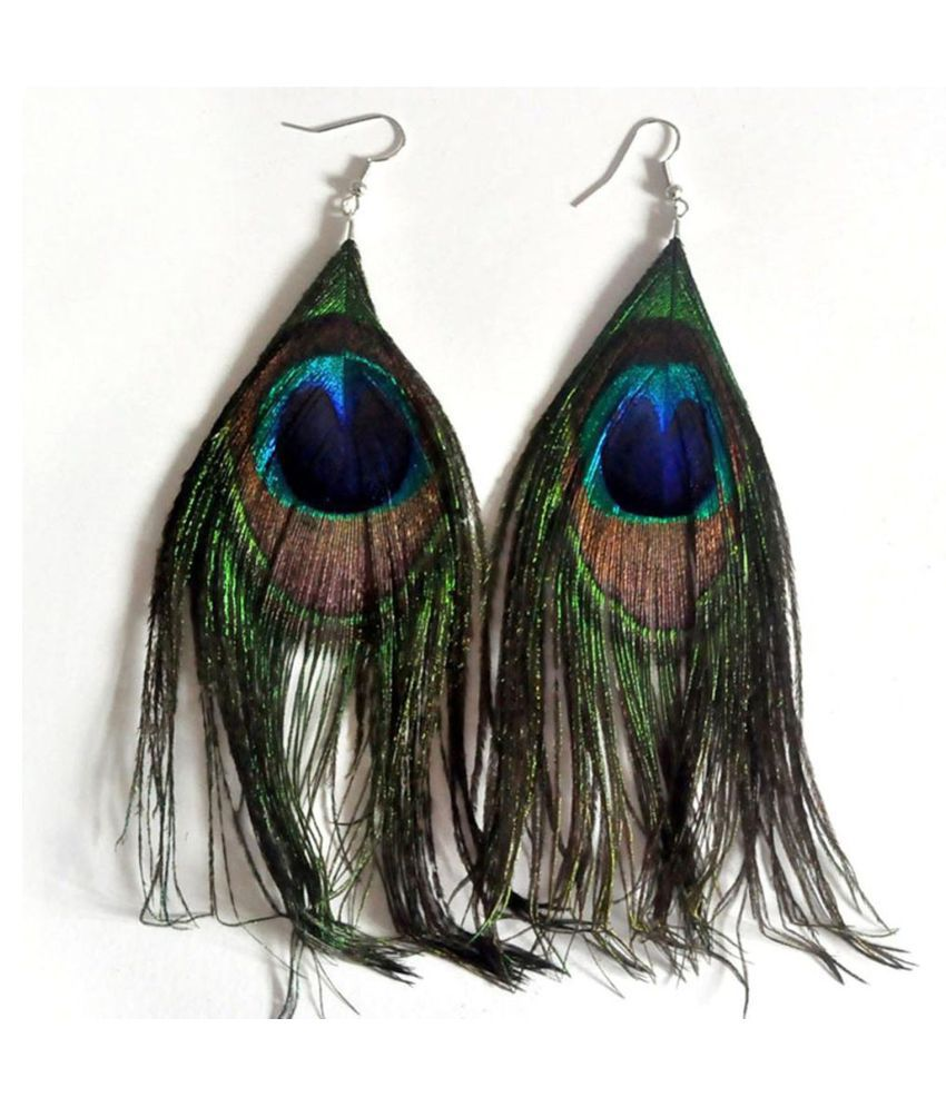 Evince MODE Long green Tassel Bohemian Feather Dangle Statement Earrings for women and girls