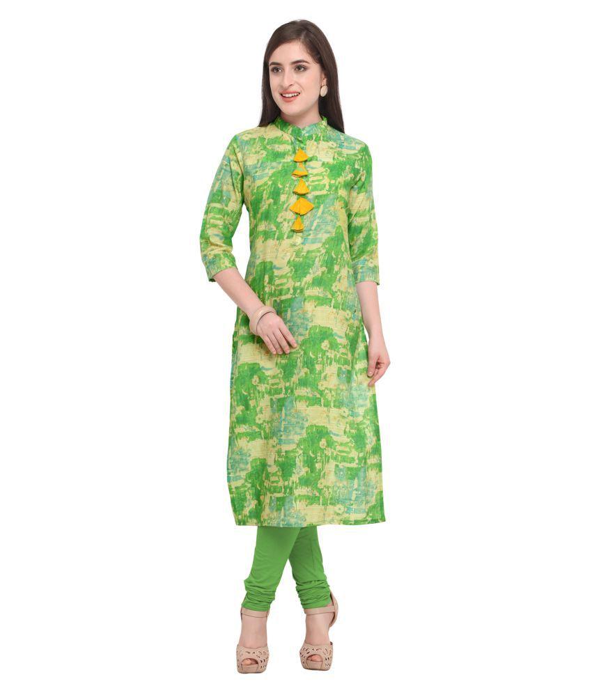 Urban India Green Cotton Straight Kurti