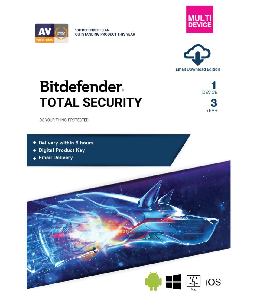BitDefender Total Security Latest Version (Windows / Mac / Android / iOS) (  3 PC / 3 Year ) - Activation Code-Email Delivery