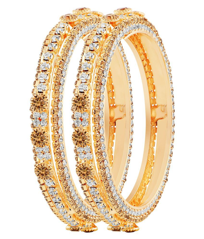 MFJ Fashion Jewellery Designer Collection Gold Plated Bangle For Women (Set of 2) + Free Dangle Earring