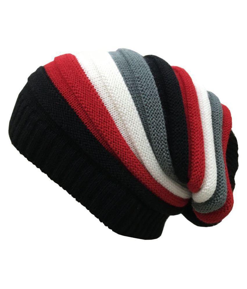 Gajraj Red Striped Wool Caps