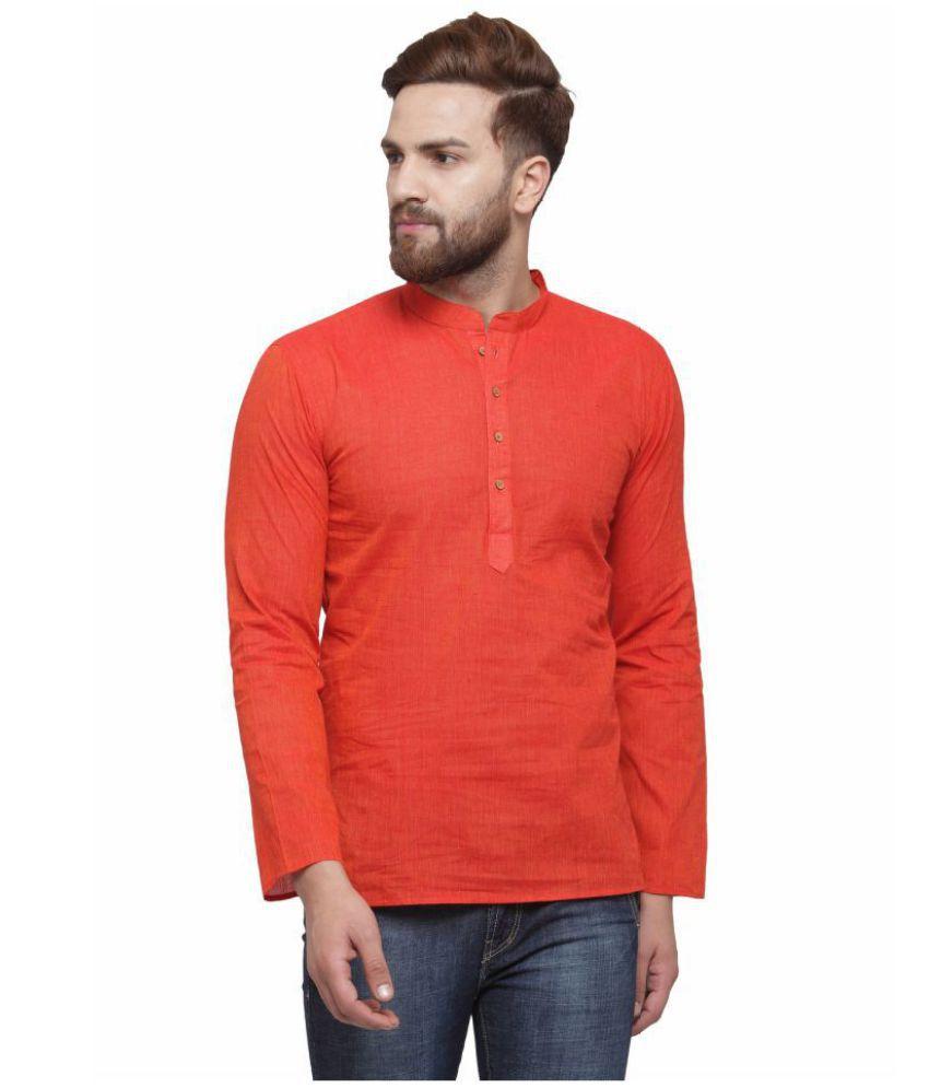 RG Designers Red Cotton Kurta Single