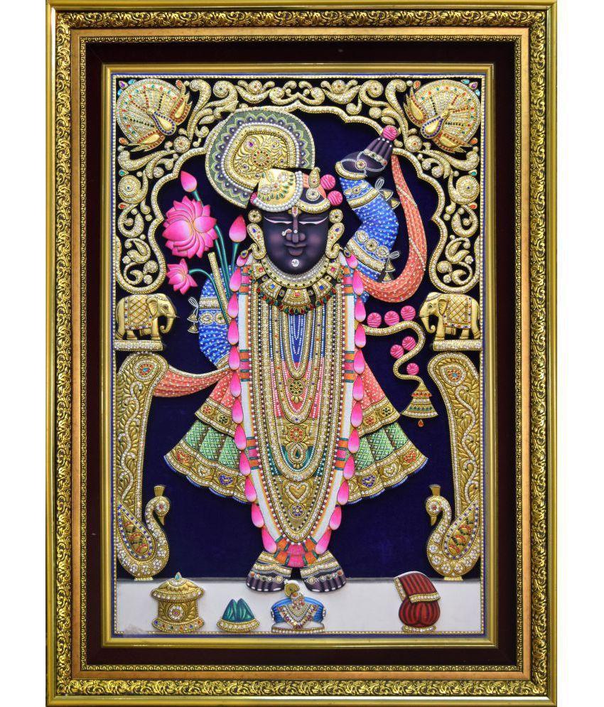 Mukund Arts Shreenathji Rajbhog hand wood painting with gold leaf Wood Painting With Frame