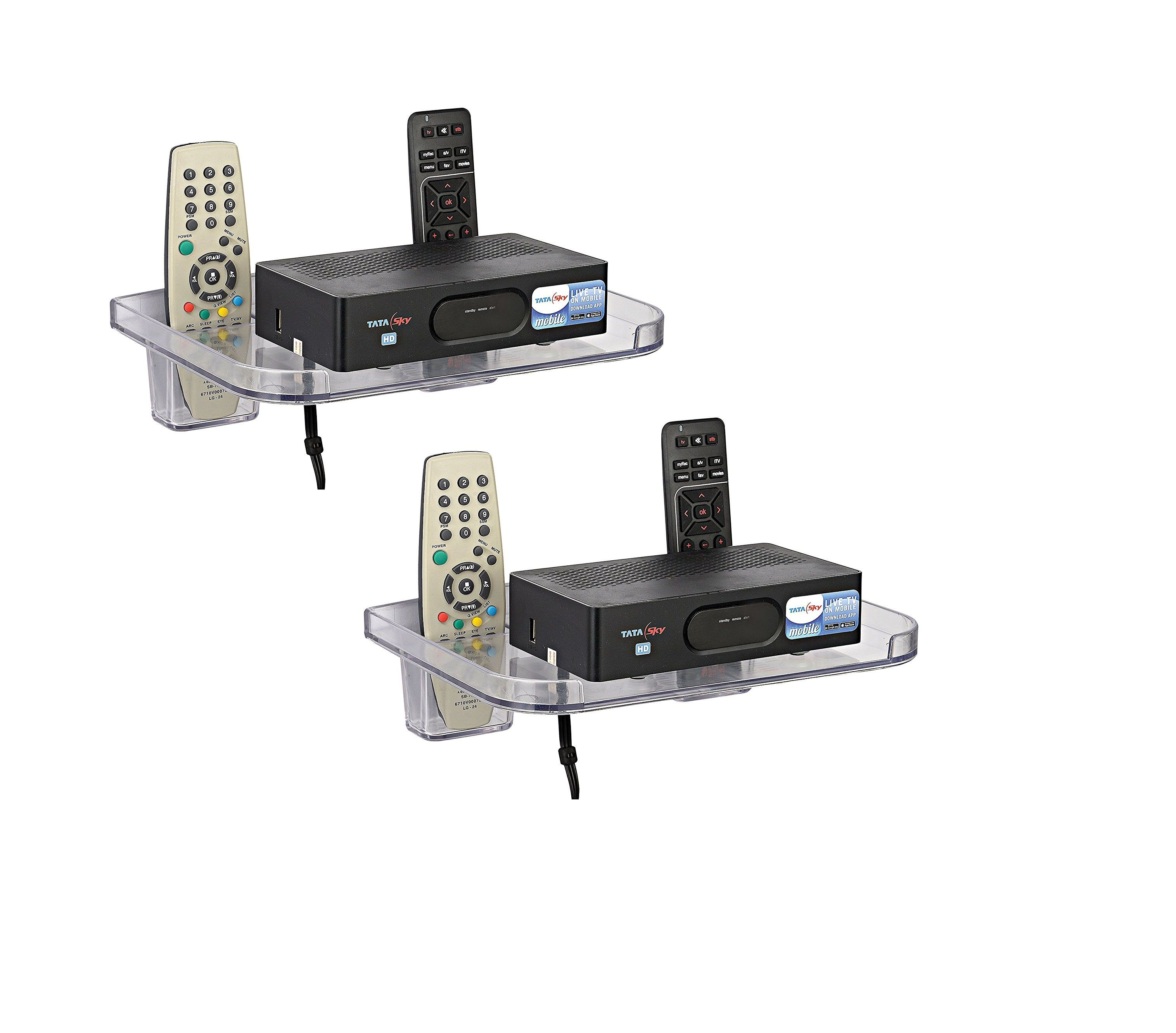 SSS Set Top Box Stand with 2 Remote Holders Colour Clear