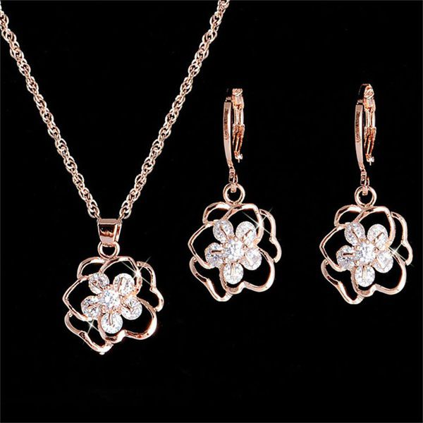 Kamalife Rose Flower 14K Gold Filled Cubic Zirconia Clear Necklace Earrings Jewelry Set