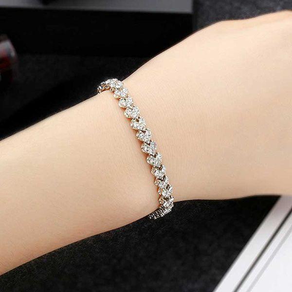 Kamalife Women's Fashion Crystal Tennis Silver Plated Cute Bracelet Zircon Beads Bracelet Bangle Chain Bracelets