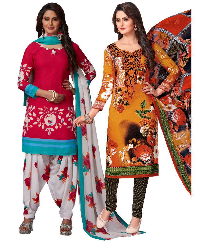 Salwar Studio Red and Grey Synthetic Dress Material