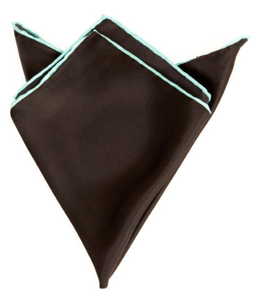 Plain Black Silk Pocket Square with Sea blue hand rolled border