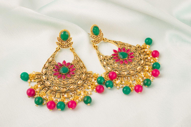 The Luxor Stylish Fancy Party Wear Wedding Jewellery Pearl Jhumkha Jhumkhi Earrings for Women and Girls