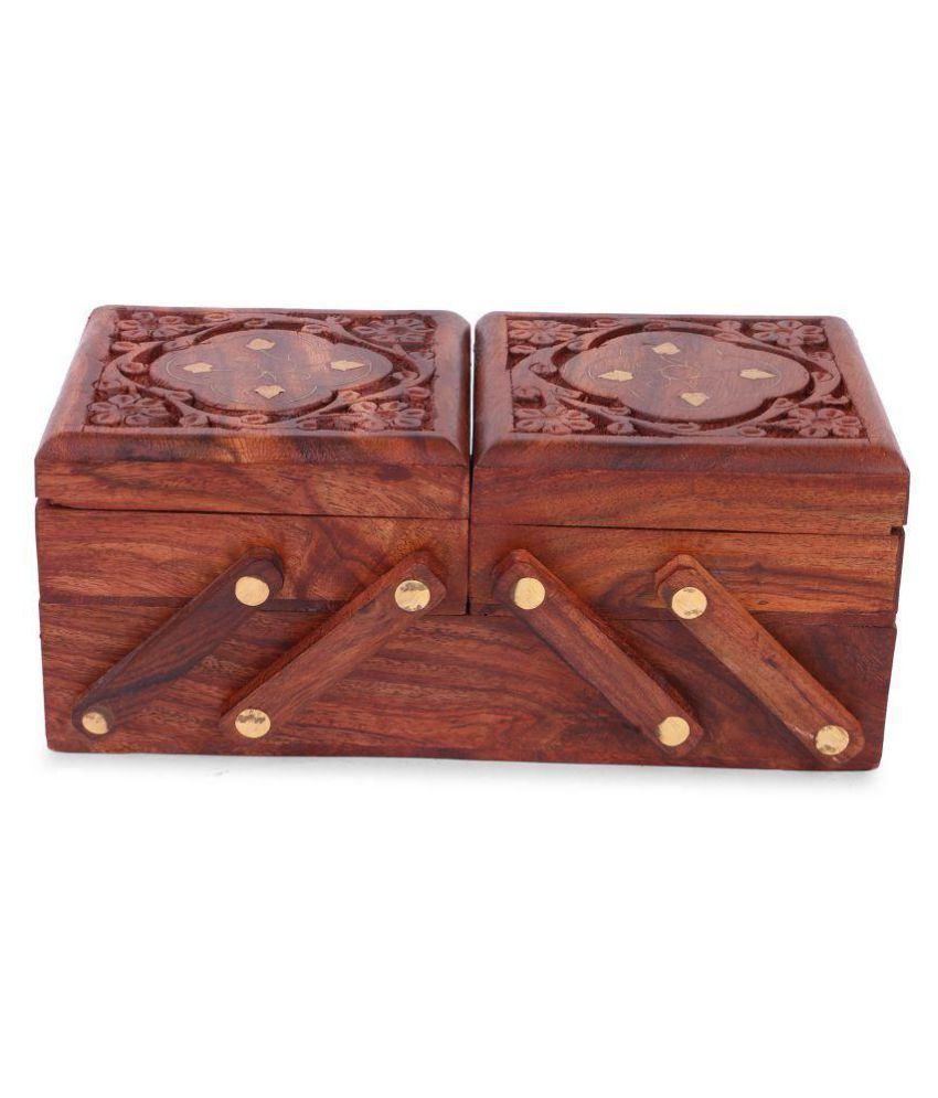 Craft haveli shringar box carved with brass work wooden 2 stories foldable jewellery box