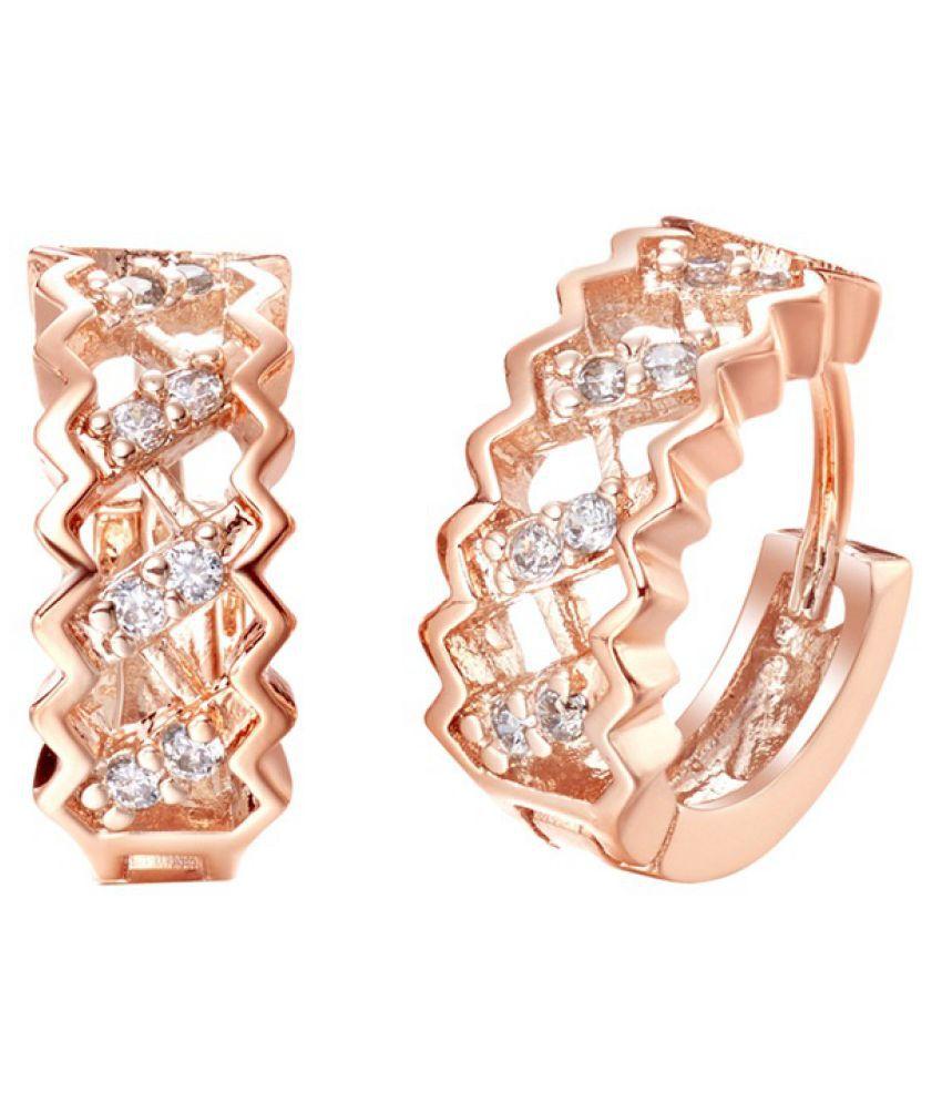 Kamalife Fashion Rose Gold Hollow Network Plating 18K Bling Bling Diamond 1 Pair Earings Jewellery