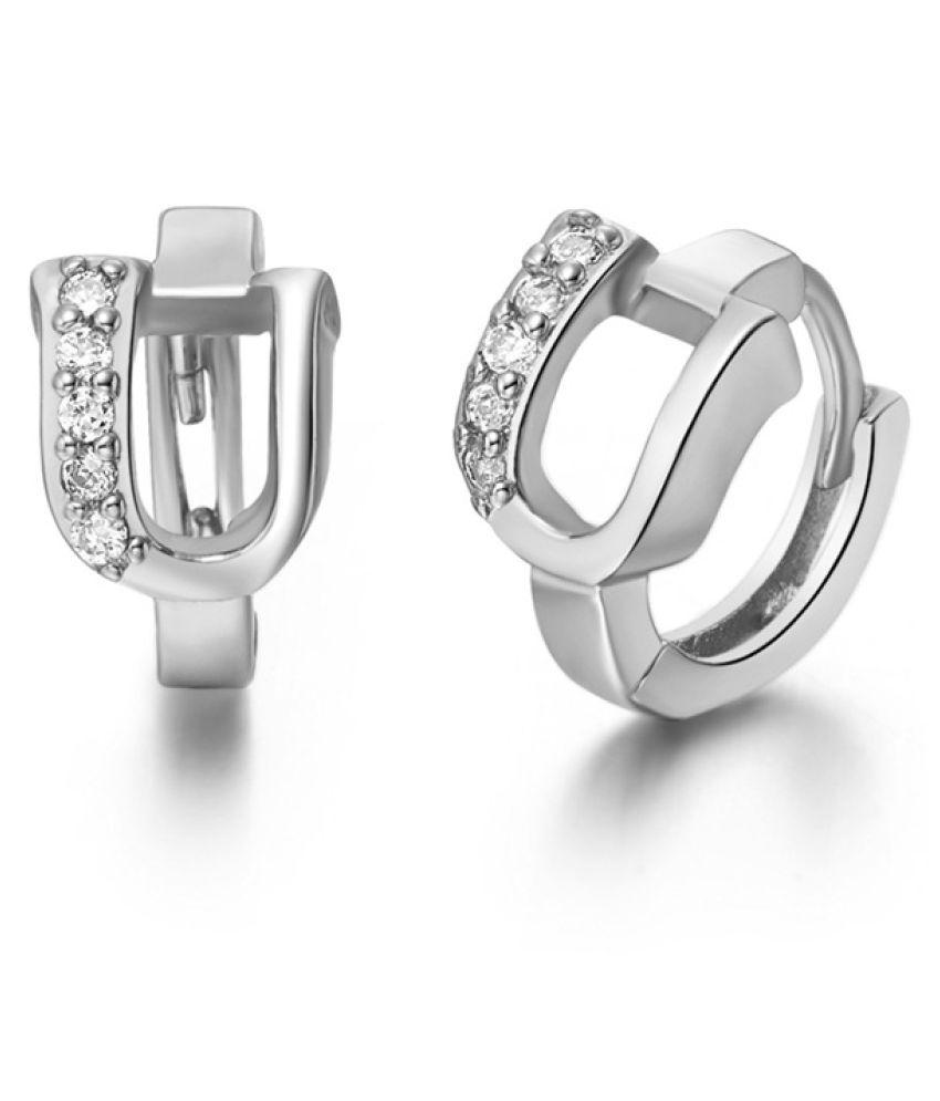 Kamalife Fashion White Letter U Plating 18K Bling Bling 1 Pair Earings Jewellery