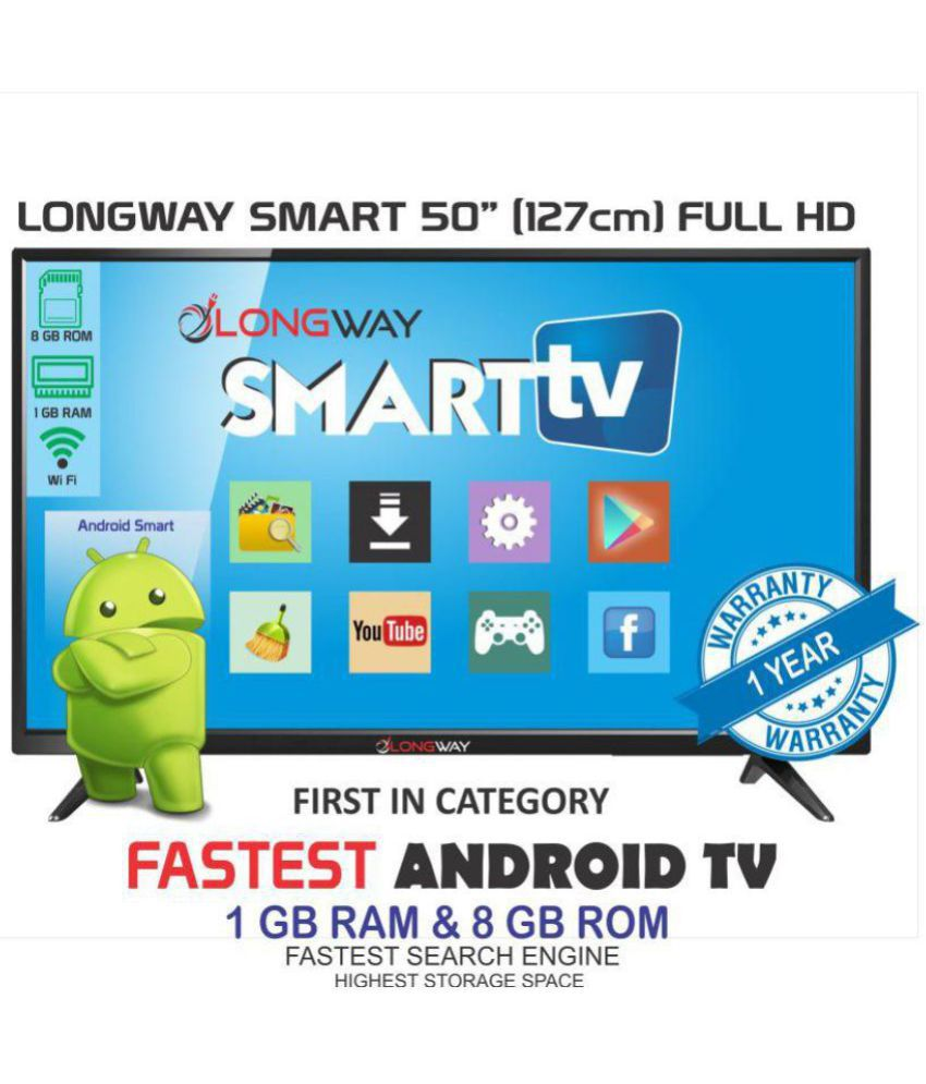 LONGWAY LW-50 127 cm ( 50 ) Smart Android Full HD (FHD) LED Television With 1+1 Year Extended Warranty