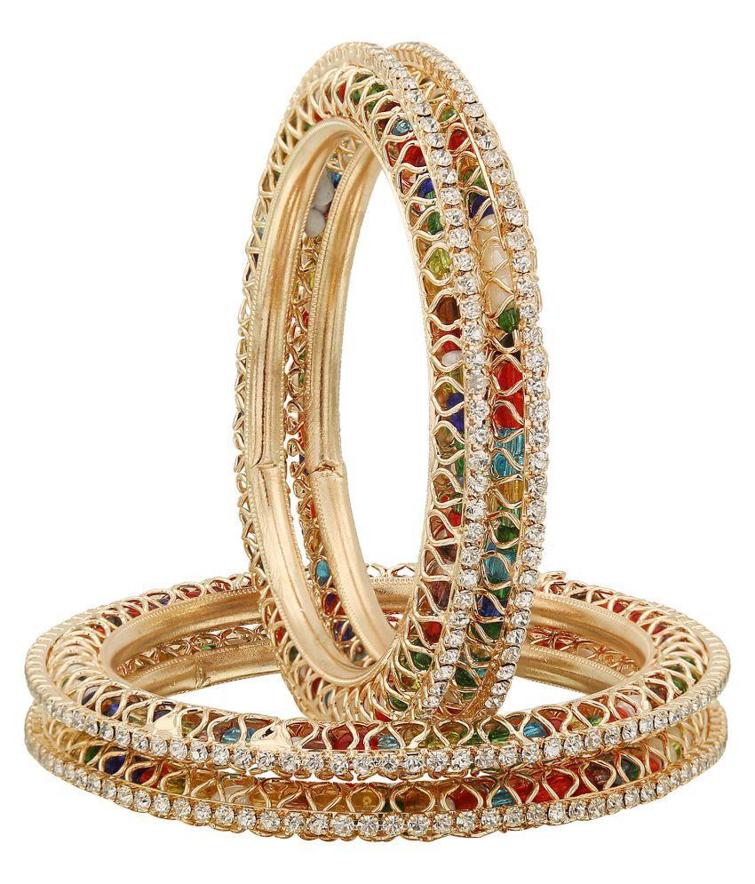 Sukriti Beatiful Gold Plated Royal MultiWhite Bangadi Bangles for Women & Girls - set of 4