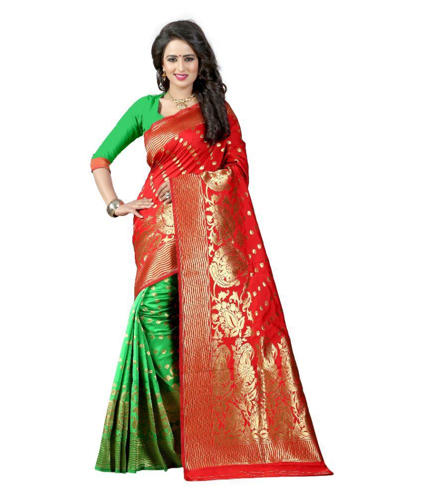 gopal fashion Red Banarasi Silk Saree