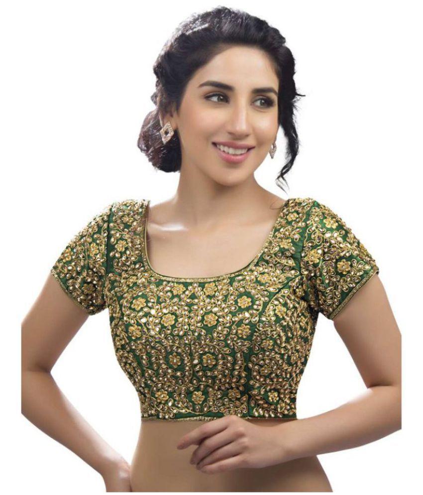 9933a01dc29ee Achyut Fashion Green Silk Readymade with Pad Blouse - Buy Achyut Fashion Green  Silk Readymade with Pad Blouse Online at Low Price - Snapdeal.com