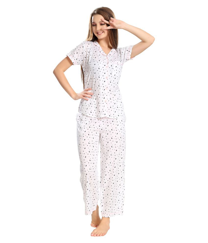 06cbffc80b Buy PIU Cotton Nightsuit Sets - White Online at Best Prices in India -  Snapdeal