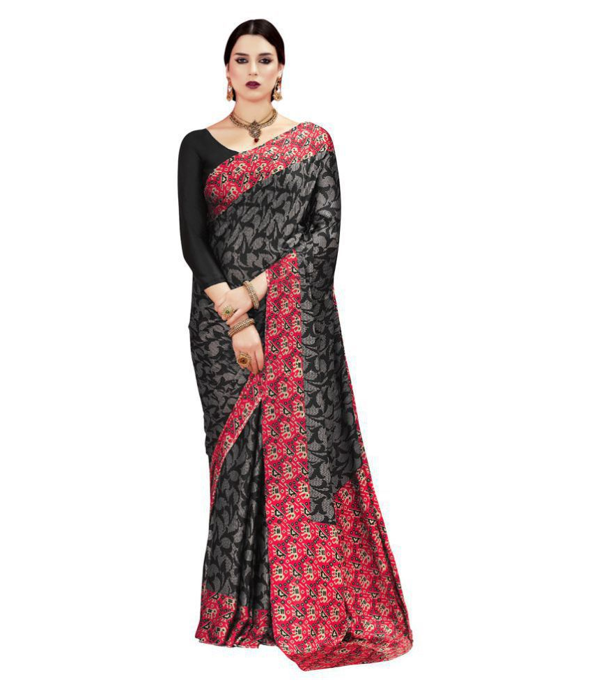 Saree Mall Black Crepe Silk Saree