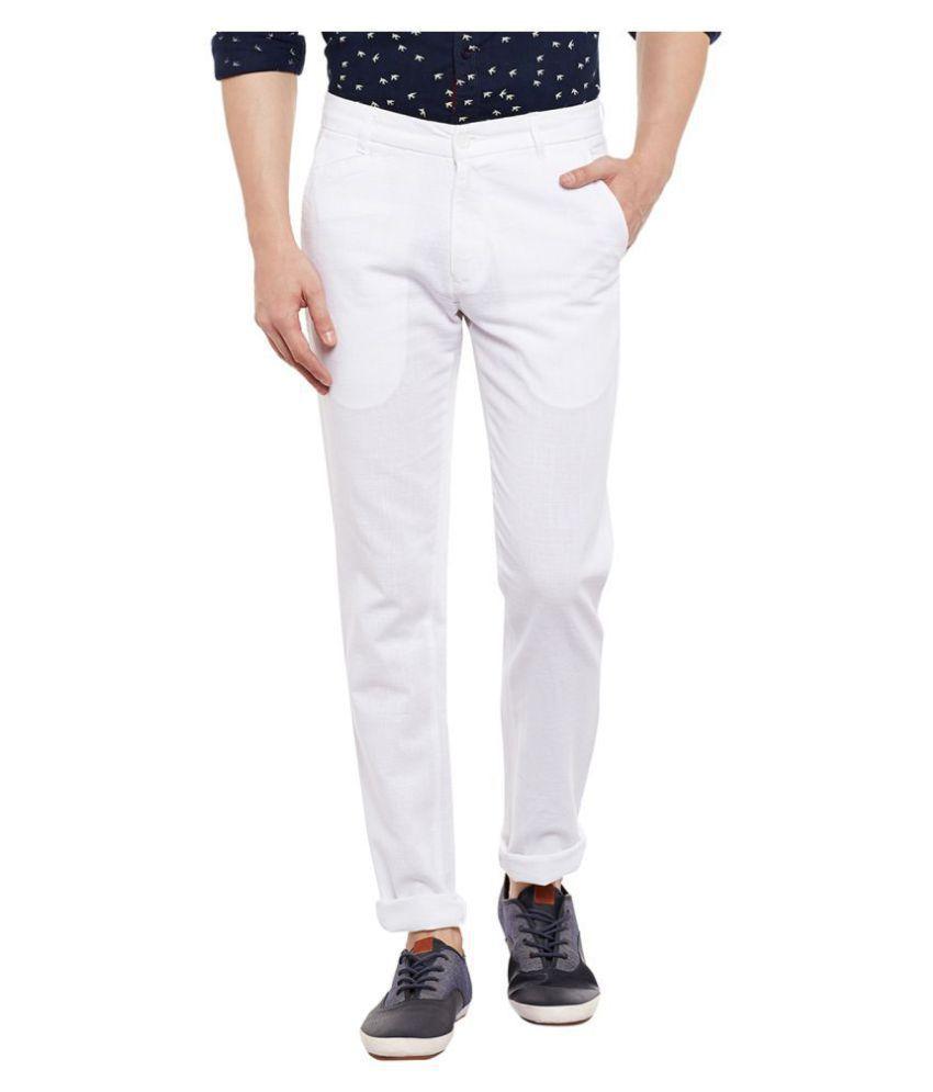 Numero Uno White Slim -Fit Flat Chinos