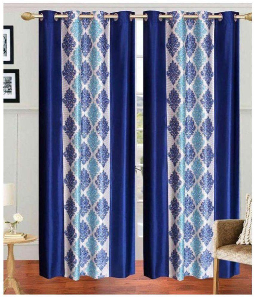 Tanishka Fabs Set of 4 Window Semi-Transparent Eyelet Polyester Curtains Blue