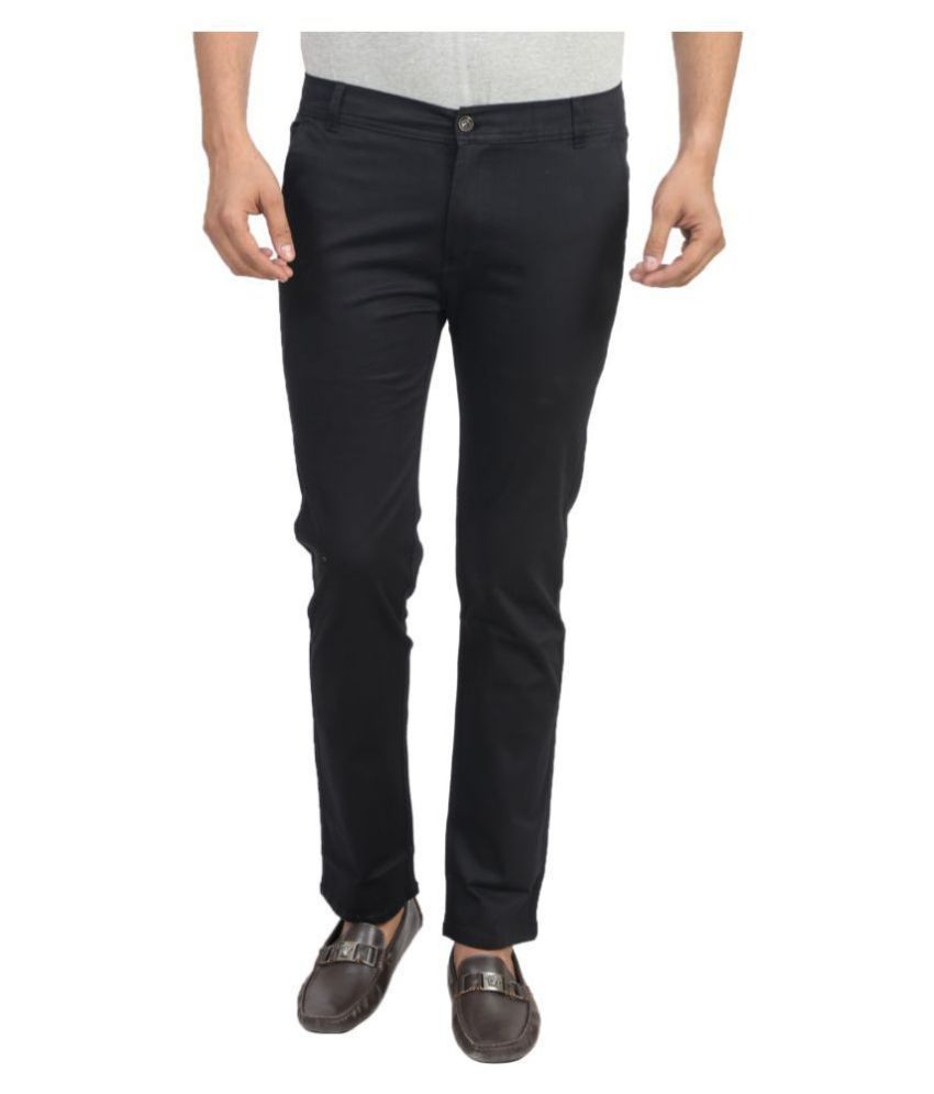 X-CROSS Black Slim -Fit Flat Chinos