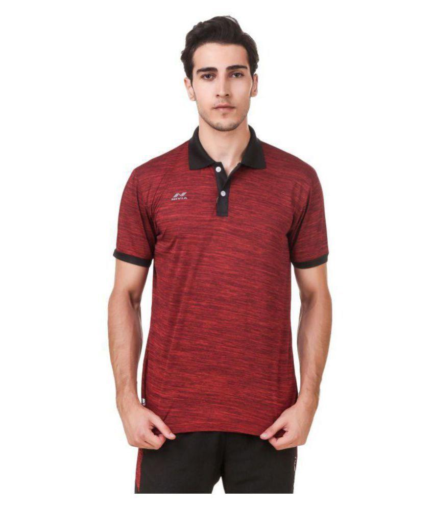 Nivia Maroon Polyester T-Shirt-2245M-4