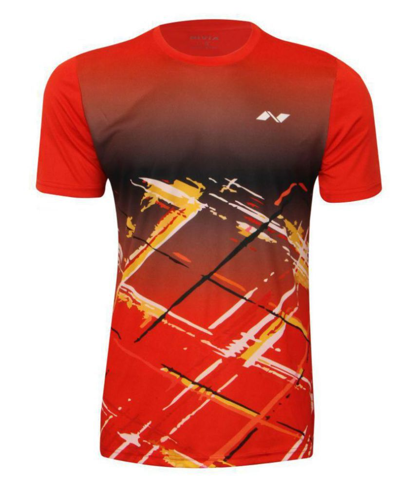 Nivia Red Polyester T-Shirt-2353L5