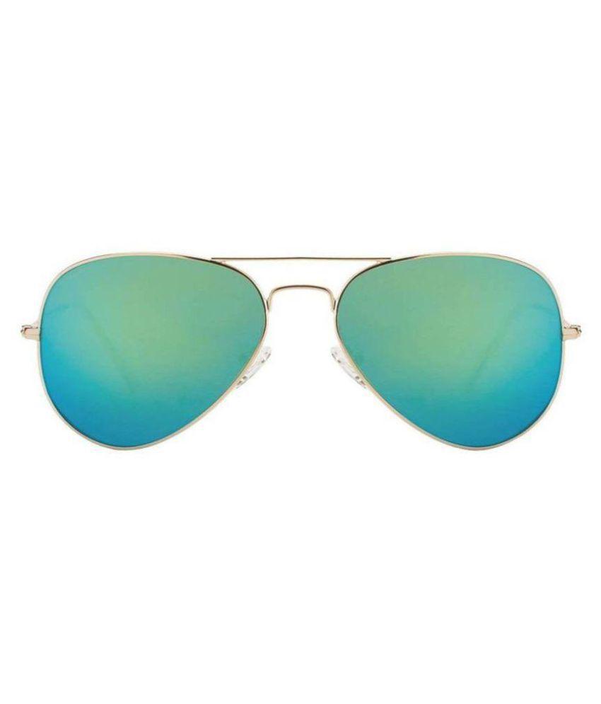 YAARA Green Aviator Sunglasses ( blue shadev green )