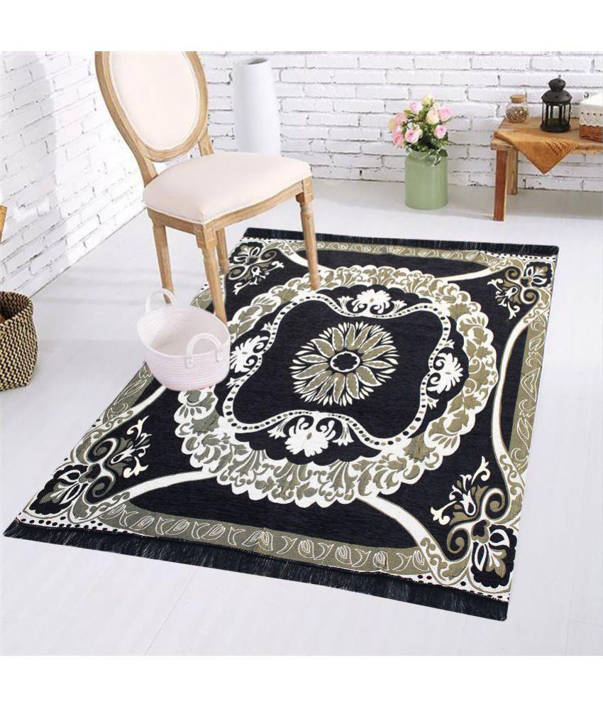 MB Mr. Badoli Black Velvet Carpet Ethnic 5X7 Ft.