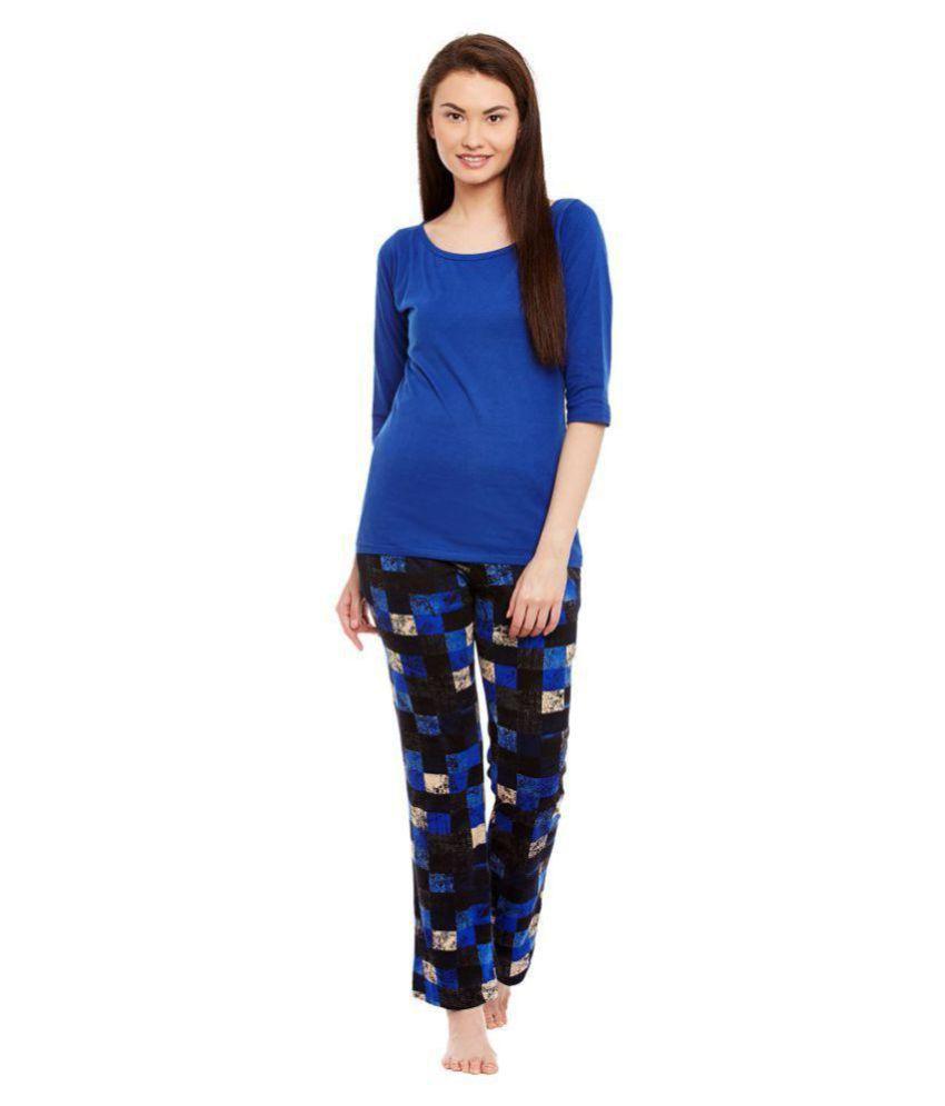 Claura Cotton Nightsuit Sets - Blue