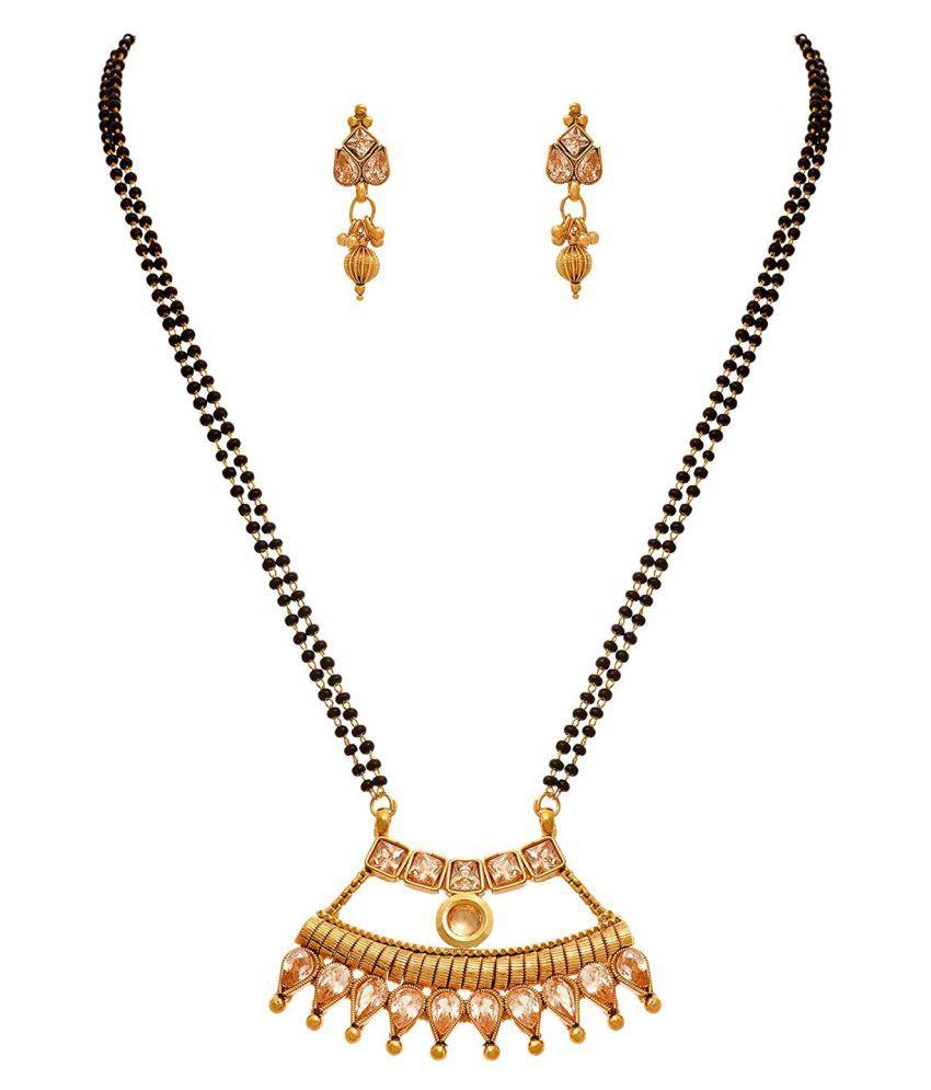 JFL - Traditional Ethnic One Gram Gold Plated Polki Diamond & Kundan Designer Mangalsutra With Black Beaded Chain For Women.
