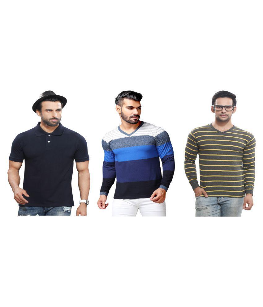 KUNDAN SULZ GWALIOR Navy Full Sleeve T-Shirt Pack of 3